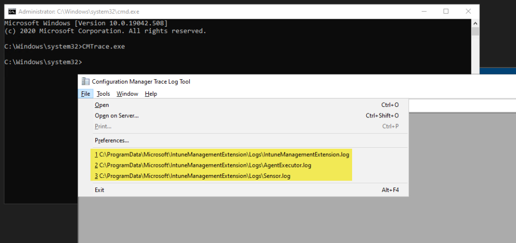cmtrace with MRU entries for Intune Management Extension (IME) log files