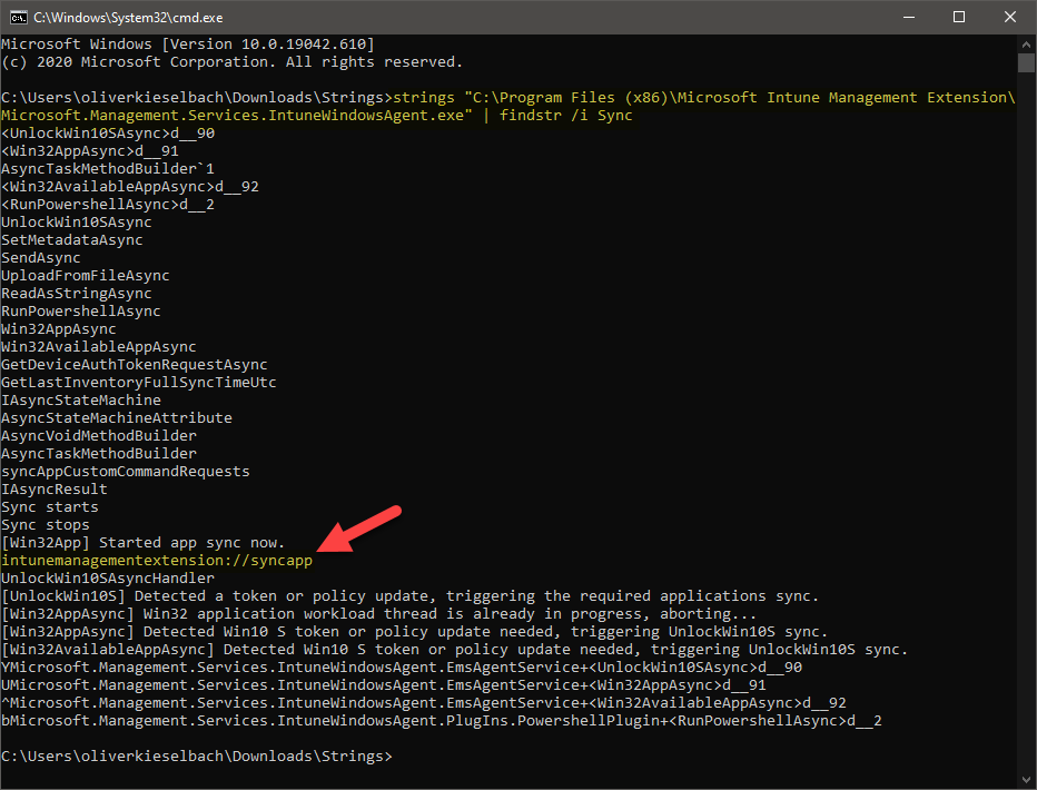 Windows Sysinternals strings usage to identify arguments