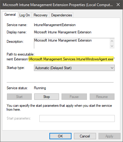 Intune Management Extension IME Windows service properties