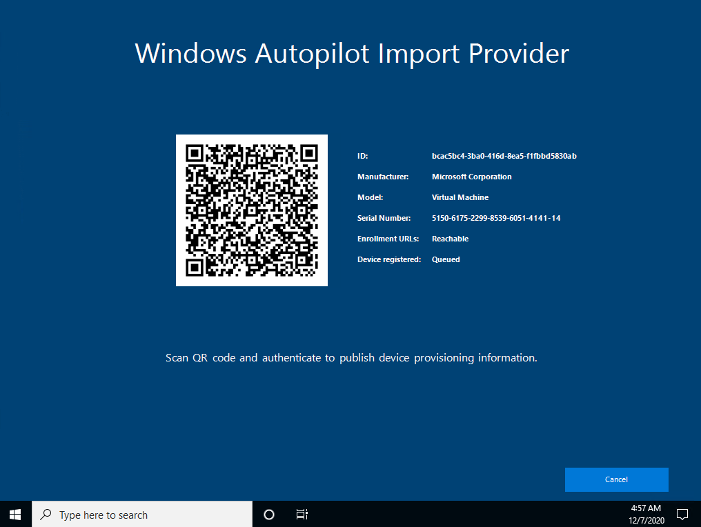 Autopilot Manager client UI - Windows Autopilot Import Provider showing import job id and device information including a QR code for approval