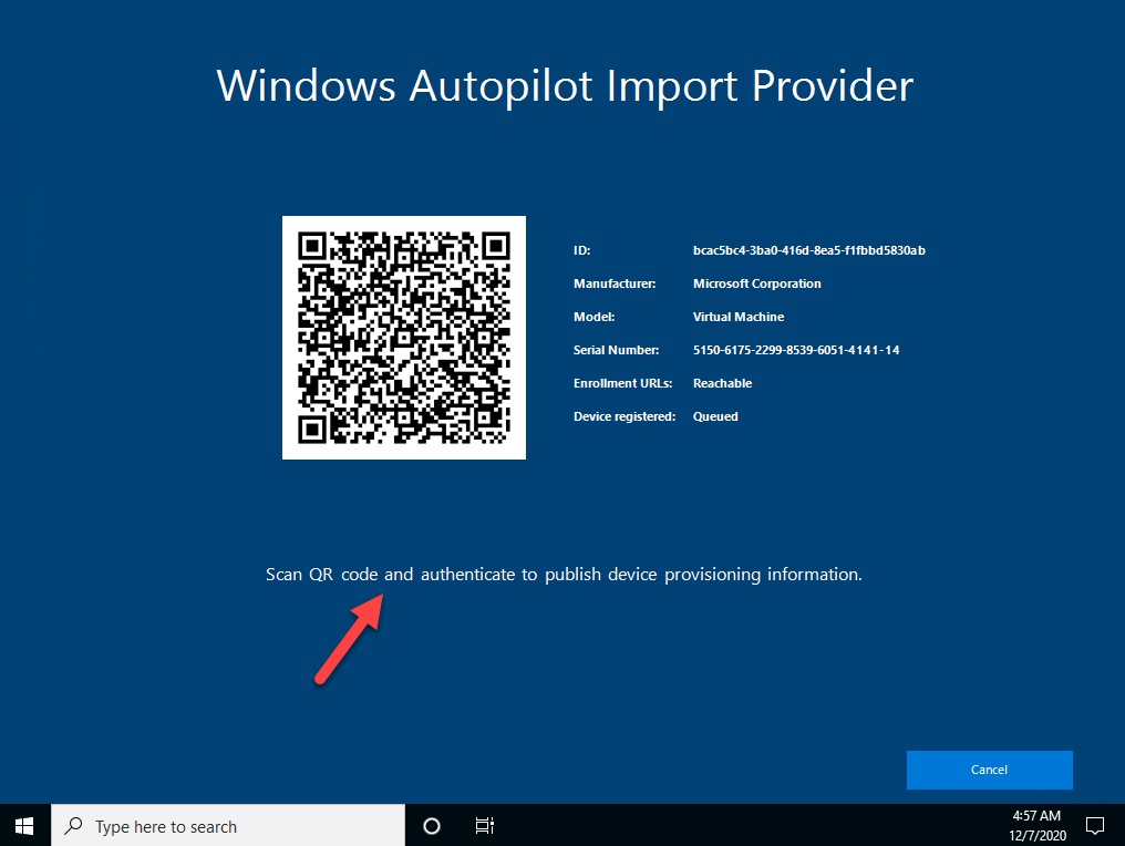 Autopilot Manager client UI - Windows Autopilot Import Provider showing self service mode