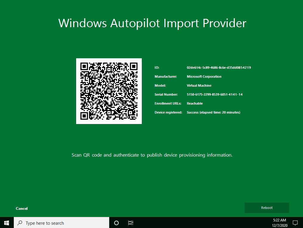 Autopilot Manager client UI - Windows Autopilot Import Provider showing successful import of device provisioning information to Autopilot after 20 min. with green background