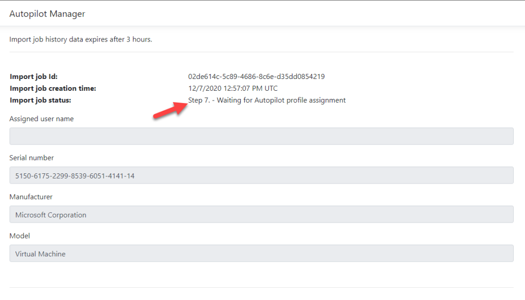 Autopilot Manager view imports details about job status