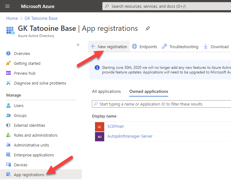 Azure AD app registration - new registration