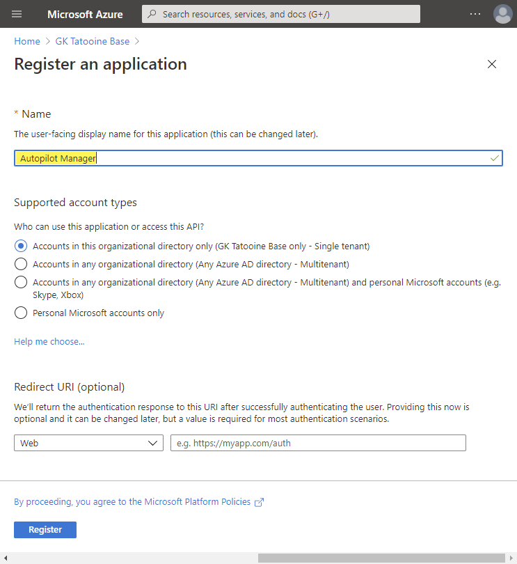 Azure AD app registration - new registration - single tenant app and user facing display name