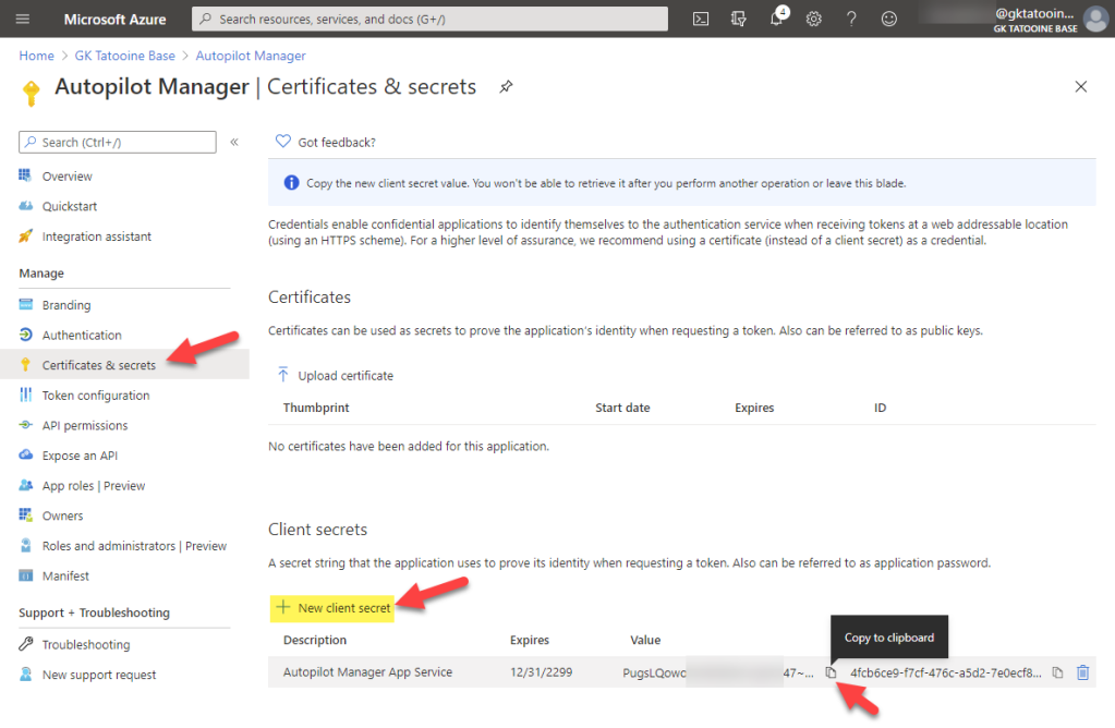 Azure AD app registration - new registration - new client secret