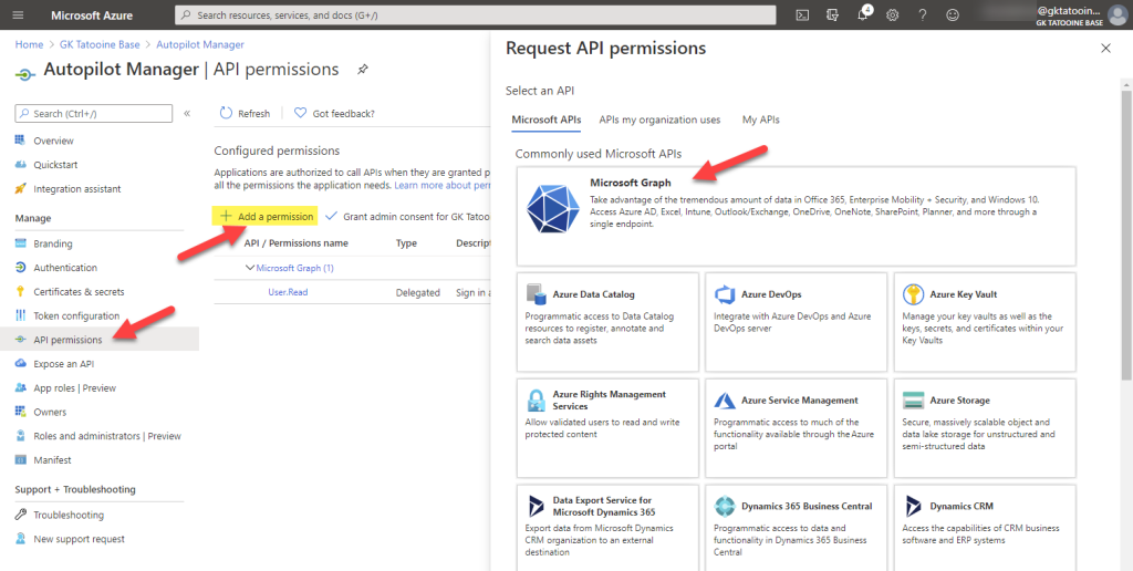 Azure AD app registration - new registration - add permissions - Microsoft graph