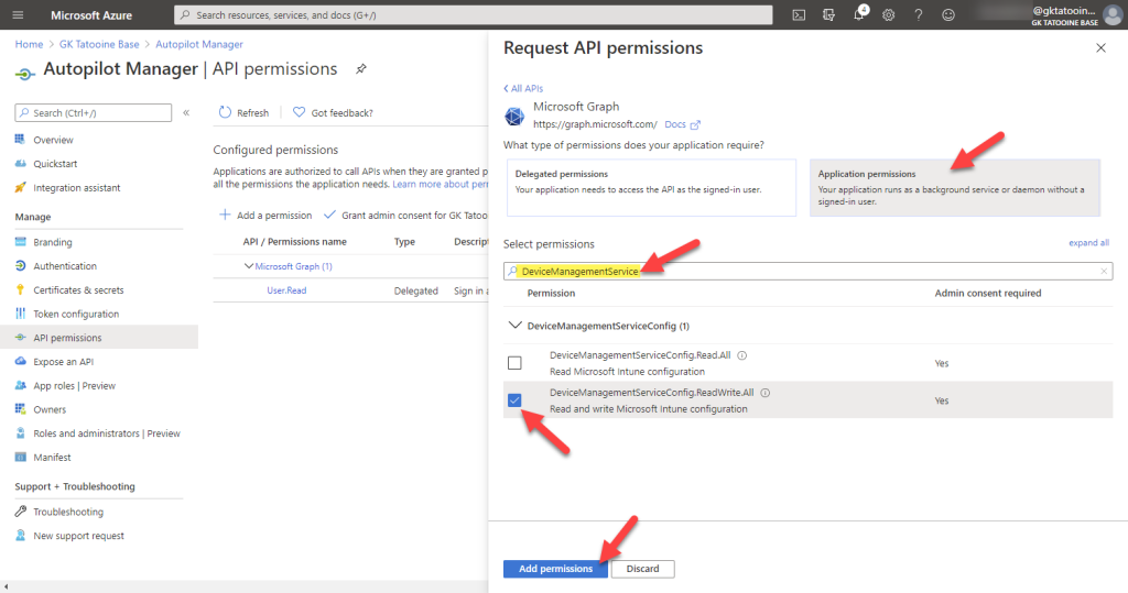 Azure AD app registration - new registration - add permissions - Microsoft graph - application permissions - DeviceManagementServiceConfig.ReadWrite.All