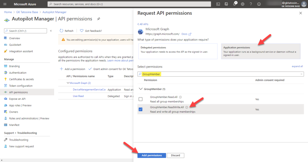 Azure AD app registration - new registration - add permissions - Microsoft graph - application permissions - GroupMember.ReadWrite.All