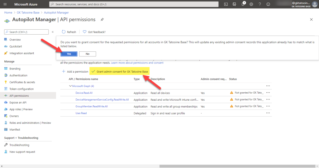 Azure AD app registration - new registration - Grant admin consent for tenant