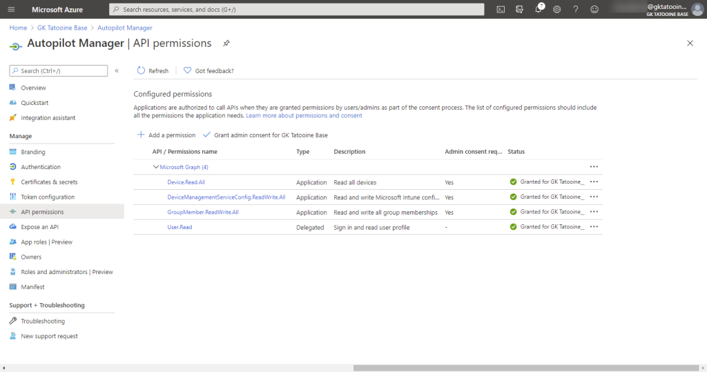 Azure AD app registration - new registration - Grant admin consent for tenant - success (green check marks)