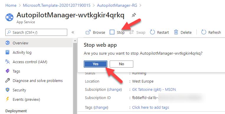 Autopilot Manager app service stop