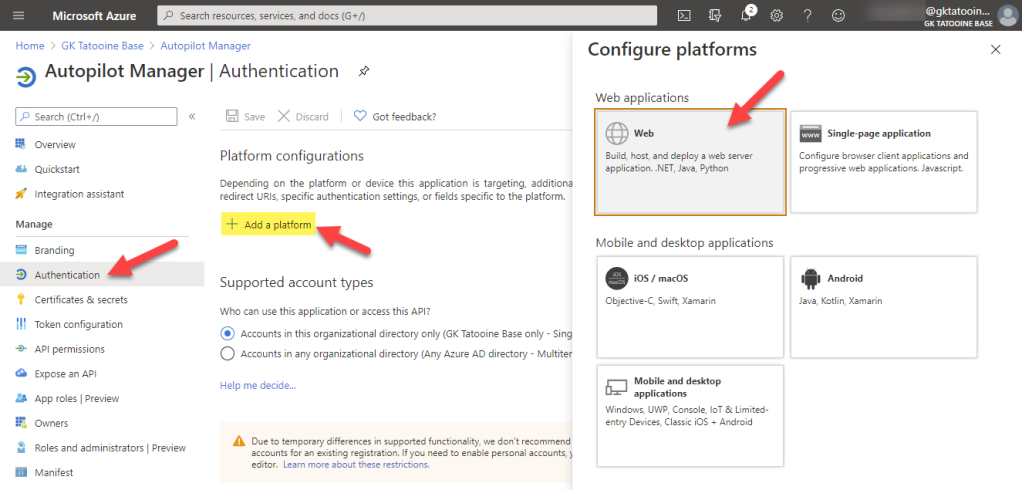 Azure AD app registration - Authentication - add platform - Web
