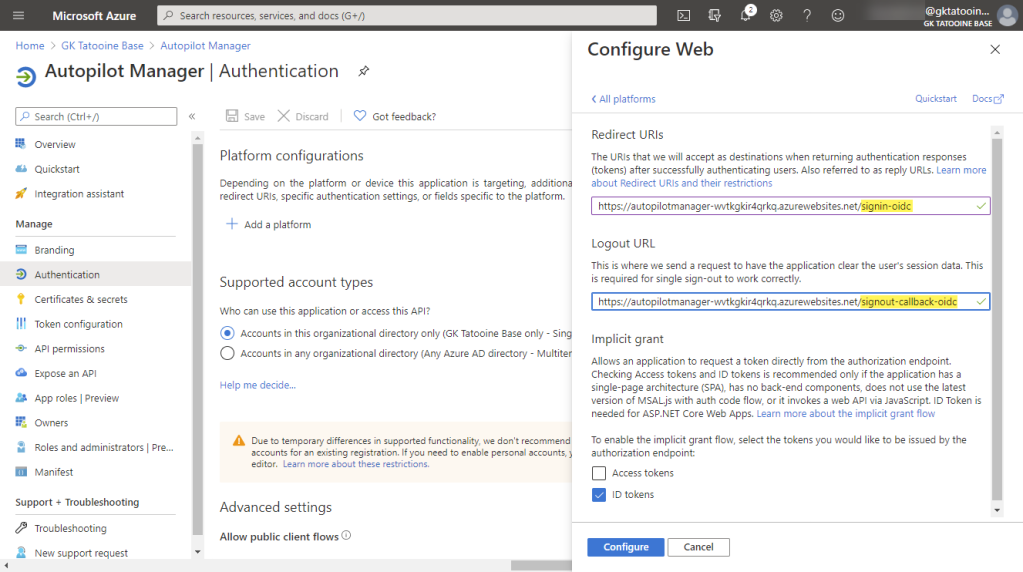Azure AD app registration - Authentication - add platform - Web - redirect URI and Logout URL