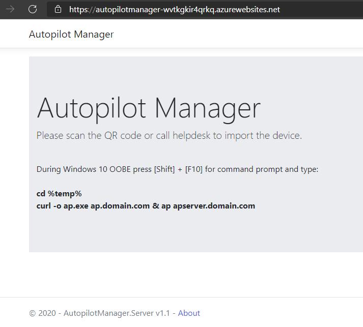 Autopilot Manager app service web page