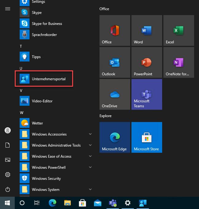 Windows start menu > Company Portal displayed in German -> Unternehmensportal