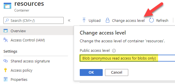Set Azure blob storage container to anonymous read access level