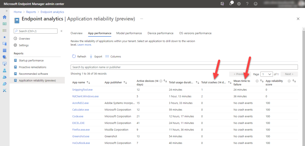 Microsoft Intune Endpoint Analytics - Application reliability - app performance details
