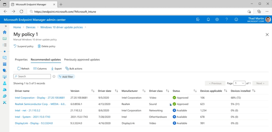 Microsoft Intune Windows Update for Business (WUfB) - Windows 10 driver update policies - recommended updates