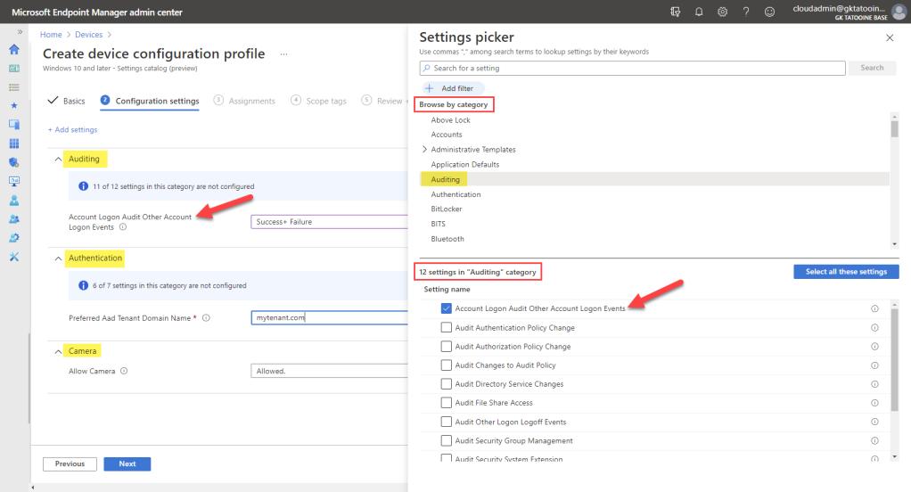 Microsoft Intune Settings Catalog
