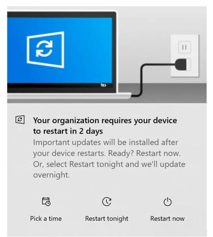 Windows 10 Update Notification Deadline dialog