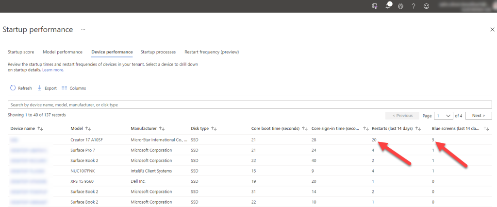 Microsoft Intune Endpoint Analytics - startup performance - device performance - restarts and blue screens