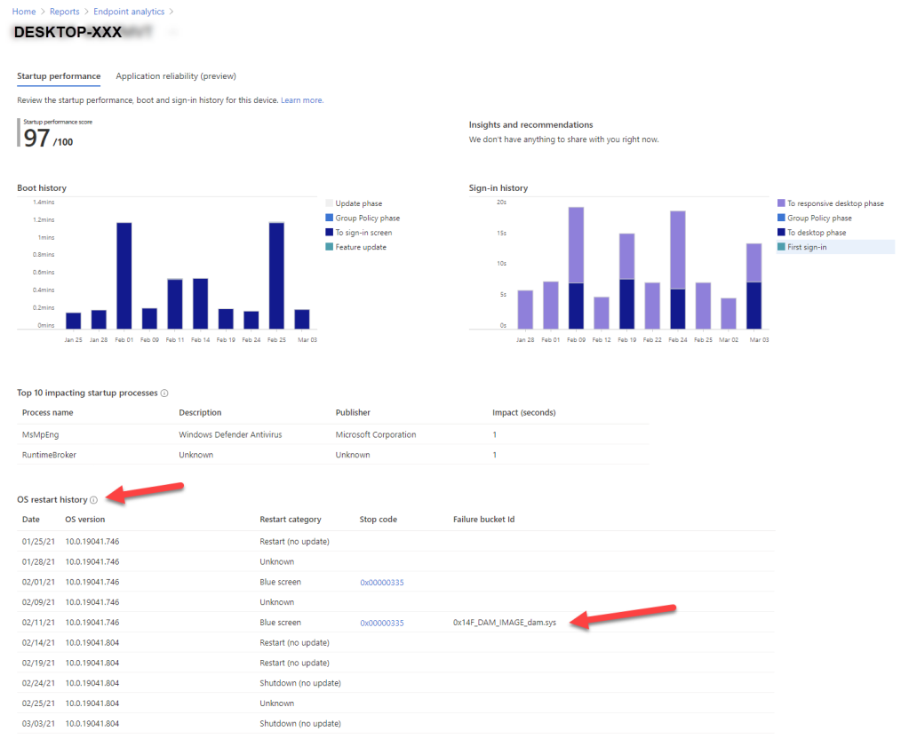 Microsoft Intune Endpoint Analytics - Application reliability device detail page
