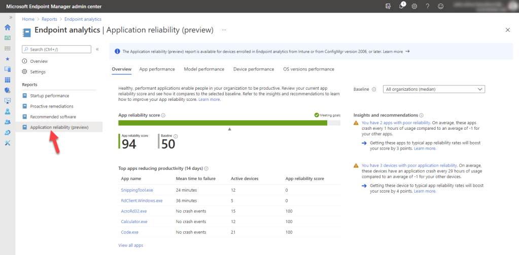 Microsoft Intune Endpoint Analytics - Application reliability
