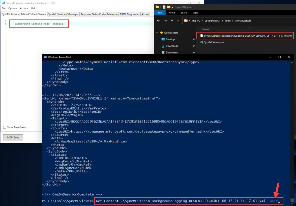 SyncMLViewer in background logging mode and additional parsing of log file via PowerShell Get-Content -Wait command
