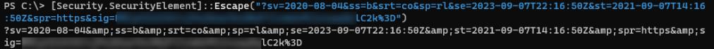 XML escaped SAS token